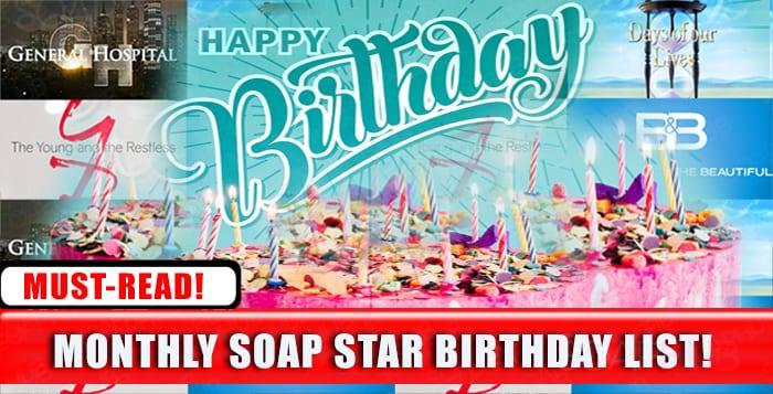 Soap Stars Birthday List